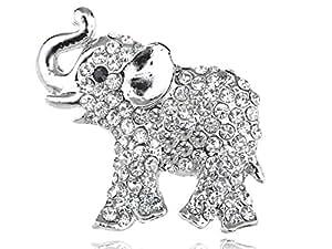 Austrian Ice Clear Crystal Rhinestone Silver Tone Baby Trunk Elephant Pin Brooch
