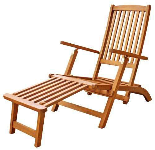 LuuNguyen - Tommy Outdoor Hardwood Folding Steamer Lounge, Deck Chair (Natural Wood Finish)