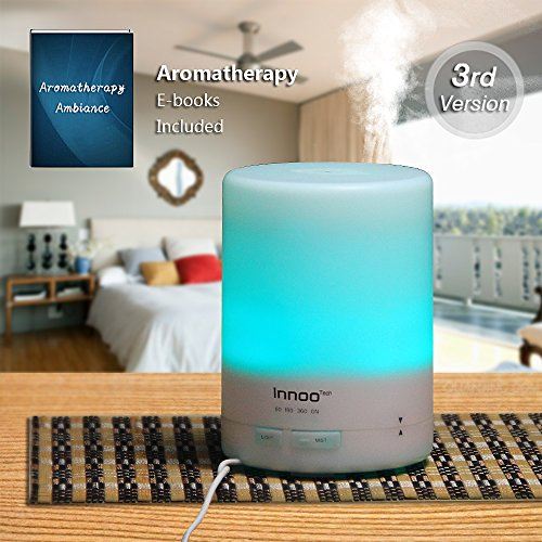 Fundamental Oil Diffuser, Innoo Tech 300ml 3rd Version Aromatherapy Humidifier Cool Mist Aroma Ebooks Included Lengthy Lasting with 4 Timer Settings 7 Color LED Lights for Bedroom/Kids Room/Spa/Baby