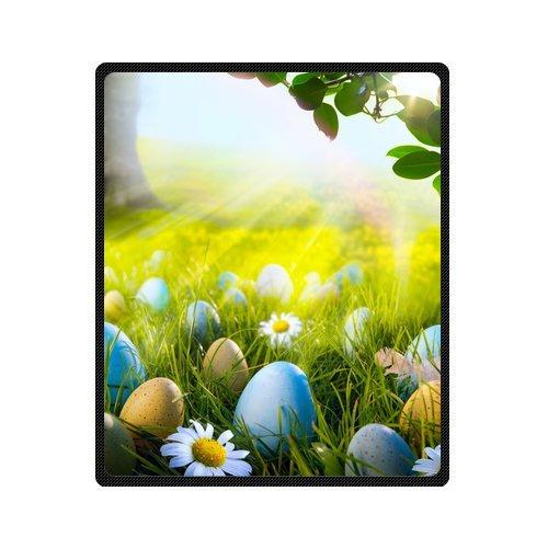 "CozyBath Happy Easter Supersoft Portable Fleece Blanket 50"" x 60"" Machine Washable(one side)"