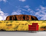 WTD Fleece Wall Mural Uluru Wallpaper, Fleece Mural, Australia, Ayers Rock, Aborigines, National Park, World Heritage - Size: 3XL - 388x259cm - 4 parts