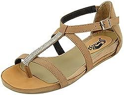 Smash Girls Beige Leather Sandals - 36 EU