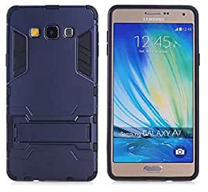 Heartly Graphic Designed Stand Hard Dual Rugged Armor Hybrid Bumper Back Case Cover For Samsung Galaxy A7 2015 SM-A700F - Navy Black