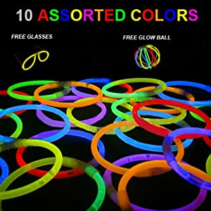 """Iwotou Pack of 100PCS 8"""" Glowstick Glow Stick Bracelets - Assorted Colors for Wedding Birthday Parties Christmas and Holiday Use from Iwotou"""