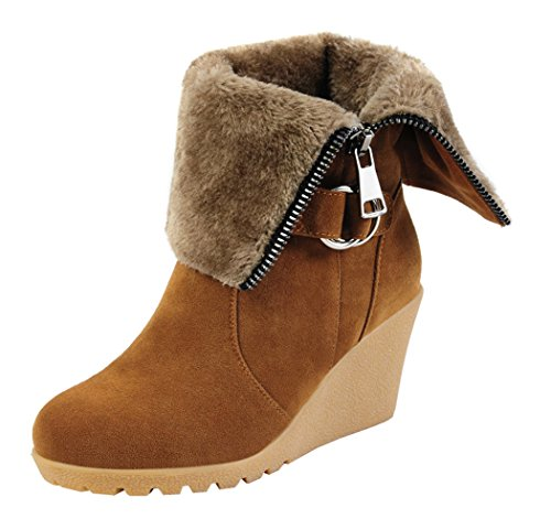 Guciheaven Women Fashiom Wedge Heel Boots(6 B(M)Us, Tan)