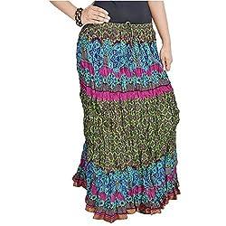 SHREEMANGALAMMART Jaipuri Multi Color Pure Cotton Skirt(Multi)(SMSKT557)