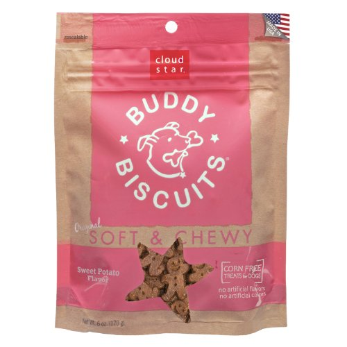 Cloud Star Soft and Chewy Buddy Biscuits, Sweet Potato Flavor, 6-Ounce Pouches (Pack of 4)