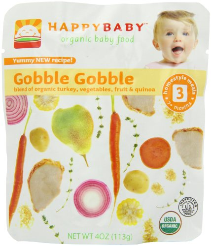 Happy Baby Organic Baby Food 3 Homestyle Meals Gobble Gobble 4 Ounce Pouches Pack of 16
