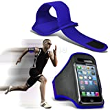 Blue iPhone 5-5s-5c Running Armband Case Cover Holder for Cycling, Jogging, Fitness Training, Boot Camp, Exercise, Sports, Outdoor Activities, Gym Cases Covers and Accessories for New Apple iPhone 5-5s-5c by iChoose®