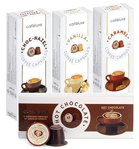 Choose Caffeluxe (Nespresso compatible) Hot Chocolate, Caramel Coffee, Vanilla Coffee, Choc Hazel Coffee capsules 40 Capsules (4 x 10) by Caffeluxe