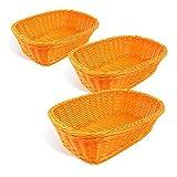 Colorbasket 31404-206 Hand Woven Waterproof Rectangular Basket, Bright Orange, Set of 3