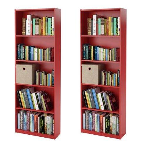 Ameriwood 5-shelf Bookcases, Red, Set of 2 2 Shelf 5 Shelf Bookcase