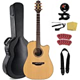 Takamine Pro Series 3 P3DC Dreadnought Body Acoustic Electric Guitar Bundle with Case