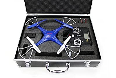 Syma X5C-1 Quadcopter Drone Blue Bundle with Carrying Case and extra batteries! Newest 2015 X5C-1 version