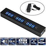 Sabrent High Speed 10 Port USB 3.0 HUB + 5V 2.1A Smart Charging Port with 3 Power Switches LED Indicators and 5V 5A Power Adapter (HB-3U10)