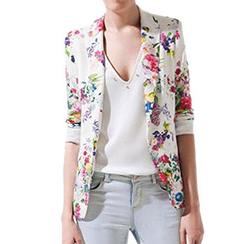 FINEJO Women Fit Casual Floral Vintage Flower Print Slim Button Blazer Coat Jacket M