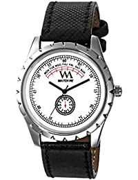 Watch Me Formal White Watch With Black Leather Strap For Men And Boys -230-Wtwm
