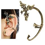 Topro Gothic Punk Temptating Bronze Dragon Bite Ear Cuff Wrap Single Earring