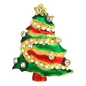"""1.25"""" Swarovski Crystals Brooch Jewelry Christmas Tree with Ornaments Pin 24K Gold Red Green White"""