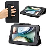 Evecase SlimBook Leather HandStrap Folio Stand Case Cover for Lenovo IdeaTab A1000 - 7' Android Tablet PC Wifi 3G - Black