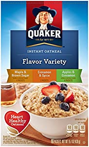 Quaker Instant Oatmeal  Flavor Variety Pack (Maple Brown sugar, Cinnamon & spice, Apples & Cinnamon), 10 ct, 1.42 oz