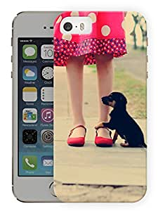 """Humor Gang Puppy With A Girl Printed Designer Mobile Back Cover For """"Apple Iphone 5-5S"""" (3D, Matte, Premium Quality Snap On Case)"""