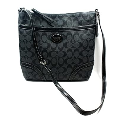 Coach 18926 Peyton Black & Grey Signature File Cross-body Bag