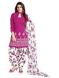 PARISHA Women's Cotton Patiyala Suit Dress Material(PVVRCC39043_Pink,White)
