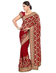 Designer Glorious Maroon Colored Embroidered Faux Georgette Saree By Triveni