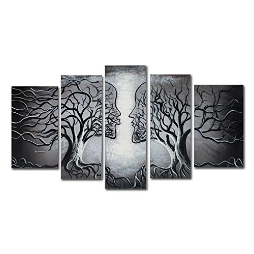 FLY SPRAY 5-Piece 100% Hand-Painted Oil Paintings Panels Stretched Framed Ready Hang Lover Couple Kiss Flora Tree Modern Abstract Canvas