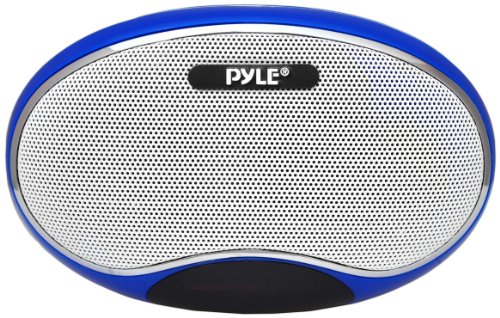Pyle Home Pspfm1Bl Portable Mp3 Speaker With Rechargeable Battery, Led Display, Mp3/Micro Sd/Usb, Fm, Aux Input (Blue)