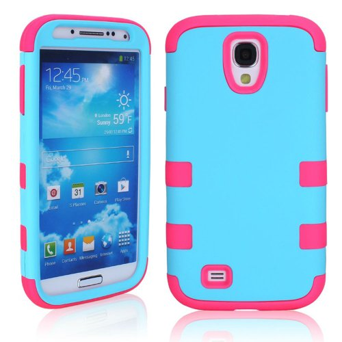M-Zebra 2 In 1 Hybrid Dual Layer Armor Defender Protective Case Cover For Samsung Galaxy S4 I9500 , With Screen Protectors+Stylus (Black)+Cleaning Cloth (Blue + Hot Pink)