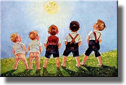 Boys Urinating into the Sun