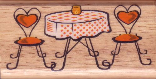Romantic Dinner Table Valentine Rubber Stamp by Canadian Maple Collections