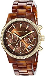 Michael Kors Women's MK6279 Ritz Stainless Steel Watch With Brown Resin Bracelet