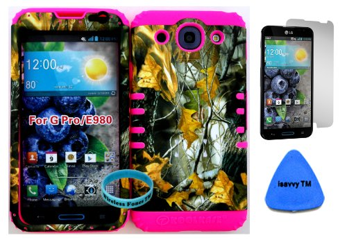 Lg Optimus G Pro E980 Camo Mossy Hunter Series Dry Leaves Plastic Snap On + Pink Silicone Kickstand Cover Case (Screen Protector, Pry Tool & Wireless Fones Tm Wristband Included) front-1033430