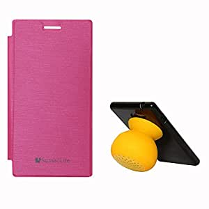 SumacLife PU Leather Flip Cover Case for Microsoft Lumia 830 (Magenta) + Bluetooth Suction Stand Speakers