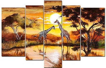TJie Art Hand Painted Mordern Oil Paintings Wall Decor Realistic Grassland Dusk Scenery Clouds Home Landscape Oil Paintings Splice 5-piece/set on Canvas