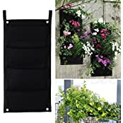 4 Pocket Indoor Outdoor Wall Balcony Garden Hanging Planter Bag Plant Pots Boxes