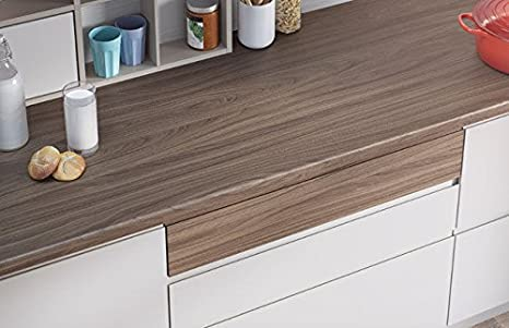 Egger Contemporary Natural Carini Walnut Wood Effect Kitchen Bathroom Laminate Worktop Offcut Work Surface 40mm Breakfast Bar - 3m x 1200mm x 8mm Splashback