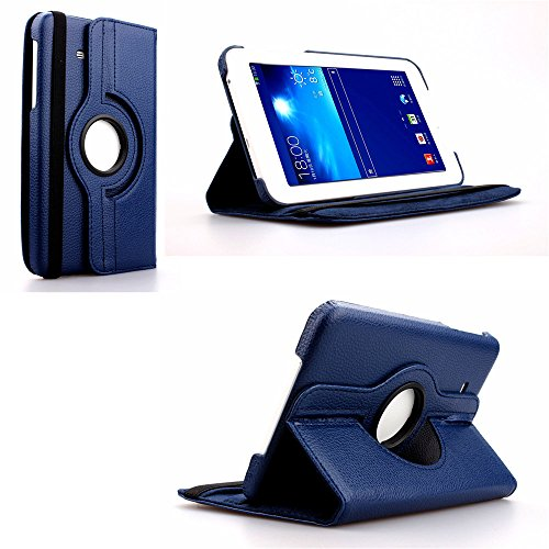 Samsung Galaxy Tab 3 Lite Case, Nicelin(TM) Leaf Pattern PU Leather Wallet Type Magnet Design Flip Stand Case Cover for Samsung Galaxy Tab 3 Lite (7-Inch Display / SM-T110 / SM-T111) with Clean Cloth (NOT for Galaxy Tab 3 7.0 / SM-T210 / SM-T211 / SM-T217) (Dark Blue)