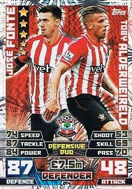 Match Attax Extra 2014/2015 Jose Fonte/ Toby Alderweireld (Southampton) Duo Card 14/15