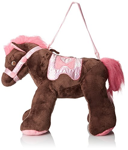 Olly & Friends Girls' Overnighter Carousel Horse with Sequin Accents, Chocolate/Light Pink/Popular Pink, One Size
