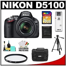 Nikon D5100 16.2 MP Digital SLR Camera & 18-55mm G VR DX AF-S Zoom Lens with 16GB Card + Case + Filter + Tripod + Cleaning & Accessory Kit