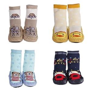 La vogue 4 Par A Vender Zapatillas Calcetines Para Bebé Niños Primeros Pasos Diferentes Patrones