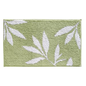 InterDesign Leaves Rug, 34-Inch x 21-Inch, Green/White