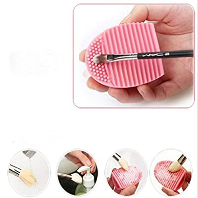 Cleaning MakeUp Washing Brush Silica Glove Scrubber Board Cosmetic Clean Tools (Pink)