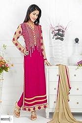 Shree Khodal Women's Pink Georgette Dress Material [SK_JCN1027_D]