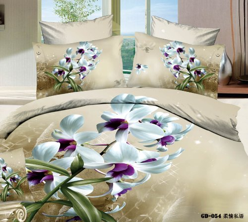 Queen King Size 100% Cotton 7-Pieces 3D White Purple Flowers Khaki Floral Prints Fitted Sheet Set With Rubber Around Duvet Cover Set/Bed Linens/Bed Sheet Sets/Bedclothes/Bedding Sets/Bed Sets/Bed Covers/ Comforters Sets Bed In A Bag (Queen) front-689533