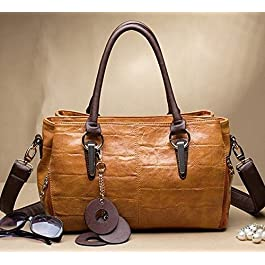 Maison De Decoration©Sac à main d'épaule d'embrayage de cuir de vache à modèle de grain de crocodile de la messagère des femmes (brun)